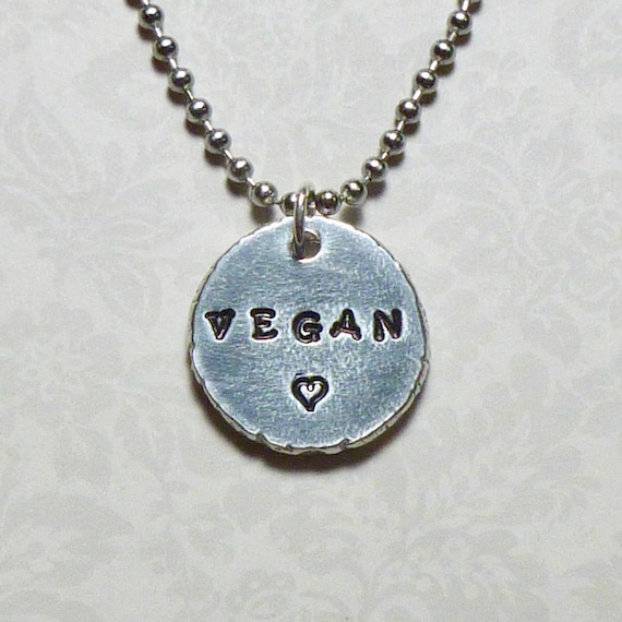 Vegan Love Hand Stamped Pewter Coin Necklace