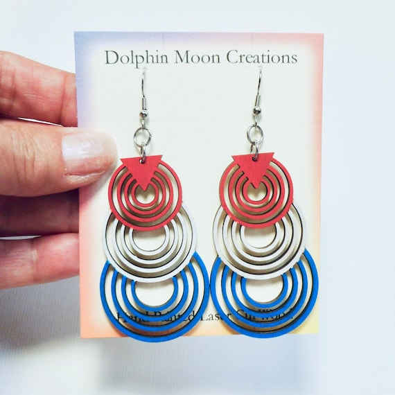 Hand Painted Laser Cut Wood Long Red White Blue Geometric Overlapping Circle Earrings