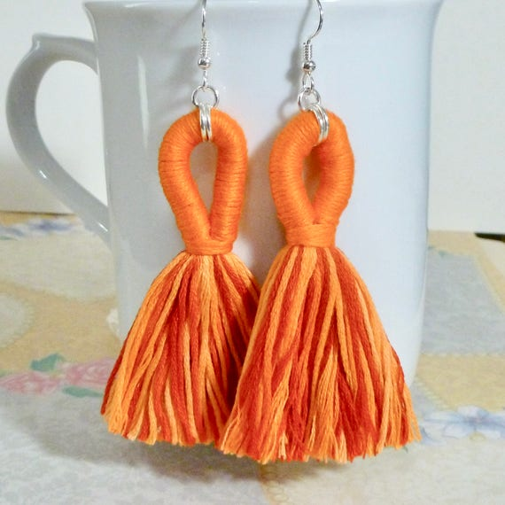 Orange Looped Tassel Earrings