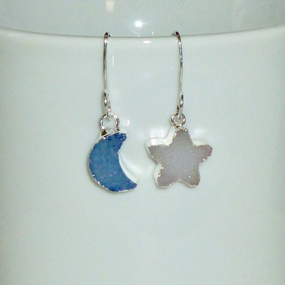 Mismatched Celestial Blue Moon and Star Druzy Earrings