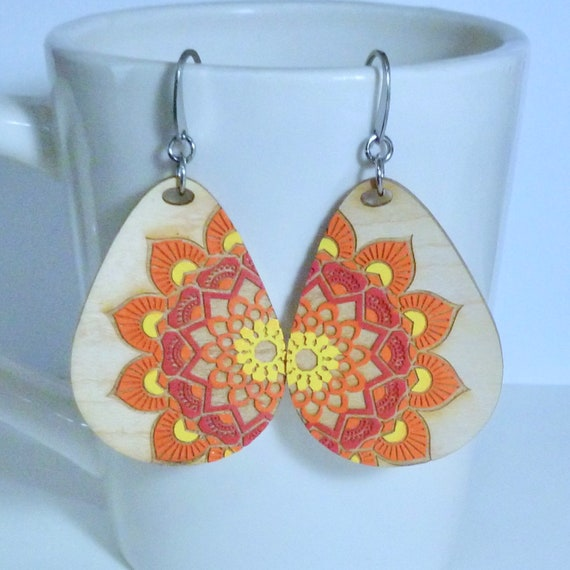 Mandala Hand Painted Laser Etched Wood Teardrop Earrings