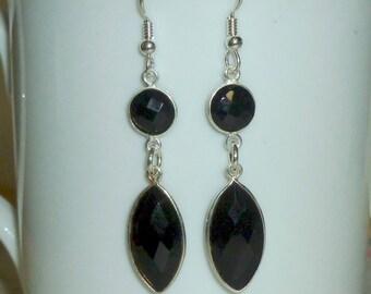Onyx Gemstone Earrings, Black Onyx Bezel Earrings, Onyx Earrings, Onyx Jewelry, Black Earrings, Black Jewelry