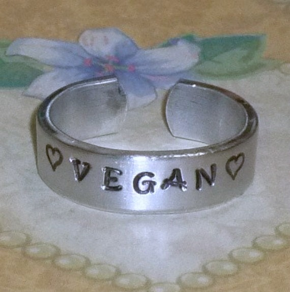 Vegan Love Hand Stamped Aluminum Band Ring