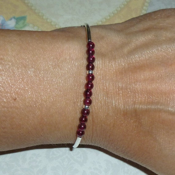Beaded Garnet Gemstone and Sterling Silver Adjustable Curved Tube Bracelet
