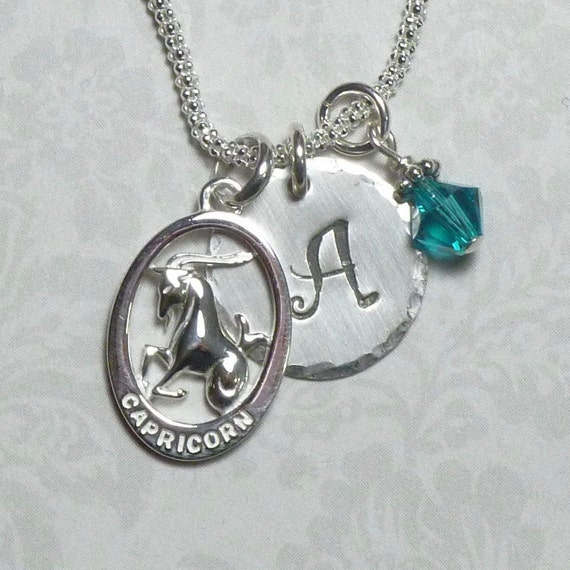 Personalized Capricorn Zodiac Hand Stamped Sterling Silver Initial Charm Necklace