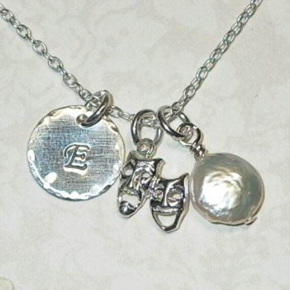 Personalized Drama Comedy Tragedy Mask Hand Stamped Sterling Silver Initial Charm Necklace