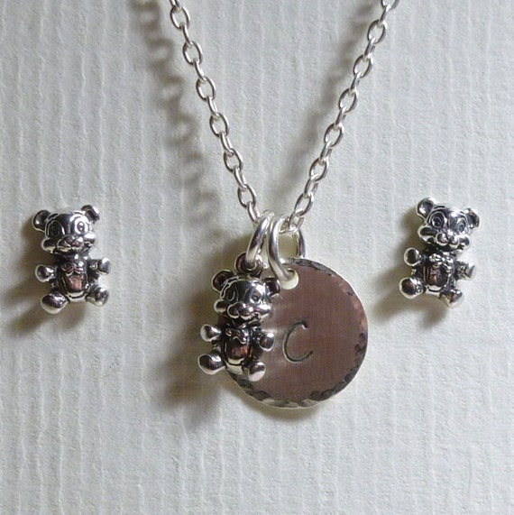 Personalized Teddy Bear Hand Stamped Sterling Silver Petite Initial Charm Necklace and Post Earring Jewelry Set