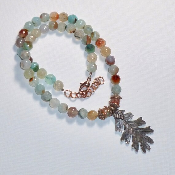Beaded Faceted Multi-Agate Gemstone Leaf Choker Necklace, Adjustable Beaded Gemstone Autumn Jewelry