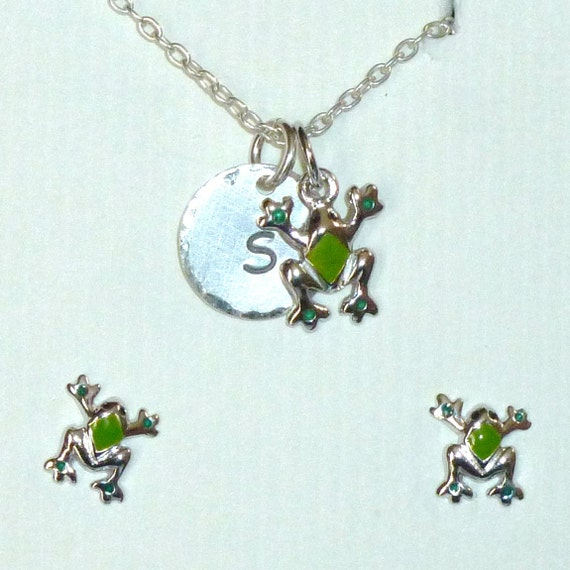 Personalized Enameled Frog Hand Stamped Sterling Silver Petite Initial Charm Necklace and Earring Jewelry Set