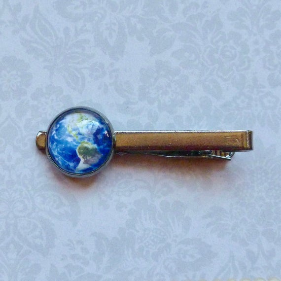 Planet Earth Celestial Gunmetal Tie Bar Tie Clip