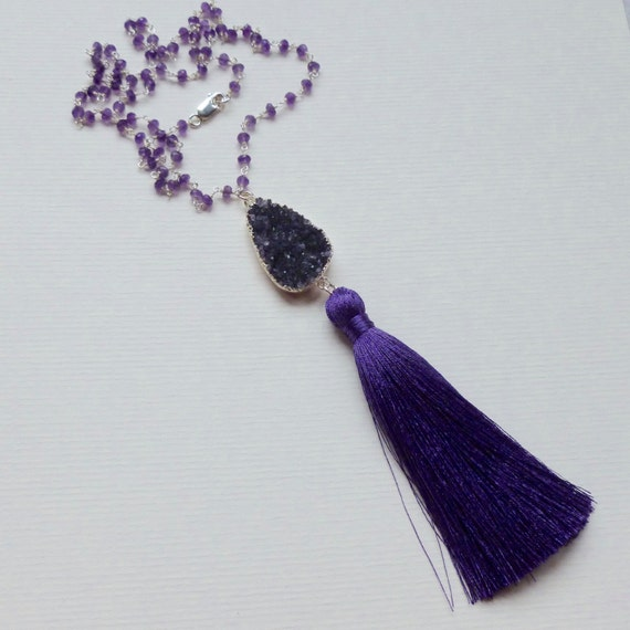Amethyst Gemstone Cluster Sterling Silver Rosary Chain Purple Tassel Necklace