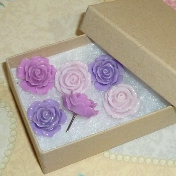 Shades of Purple Push Pin Thumb Tacks Decorative Resin Rose Flower Cabochons - Set of 6