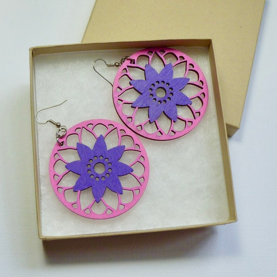 Lightweight Hand Painted Laser Cut Wood Circle Foral Earrings