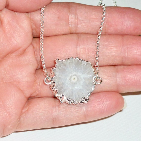 White Stalactite Solar Quartz Gemstone Layering Necklace