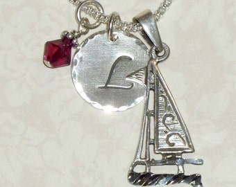 Sailboat Necklace, Sailboat Hand Stamped Sterling Silver Initial Charm Necklace, Sailing Necklace, Nautical Jewelry