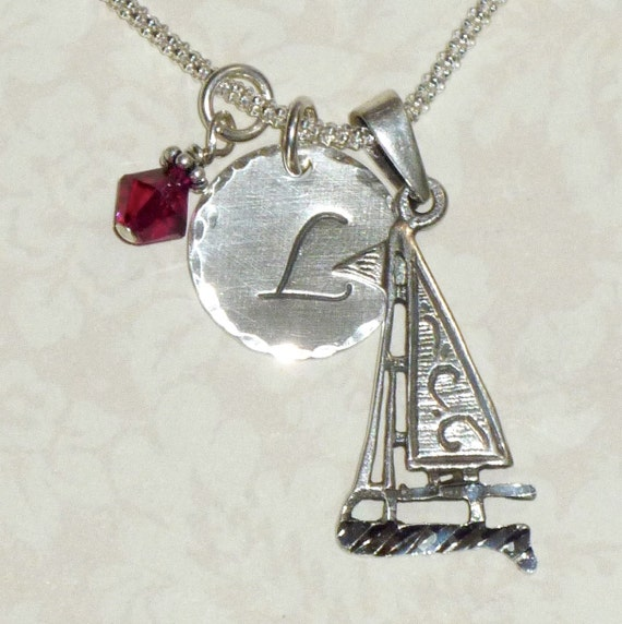 Personalized Sailboat Hand Stamped Sterling Silver Initial Charm Necklace