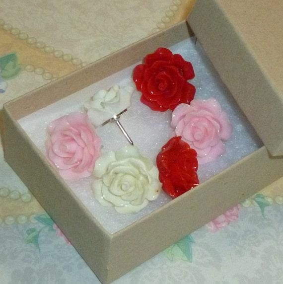 Red White Pink Rose Flower Push Pin Thumb Tacks - Set of 6