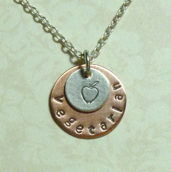 Vegetarian with apple Hand Stamped Copper and Sterling Silver Necklace