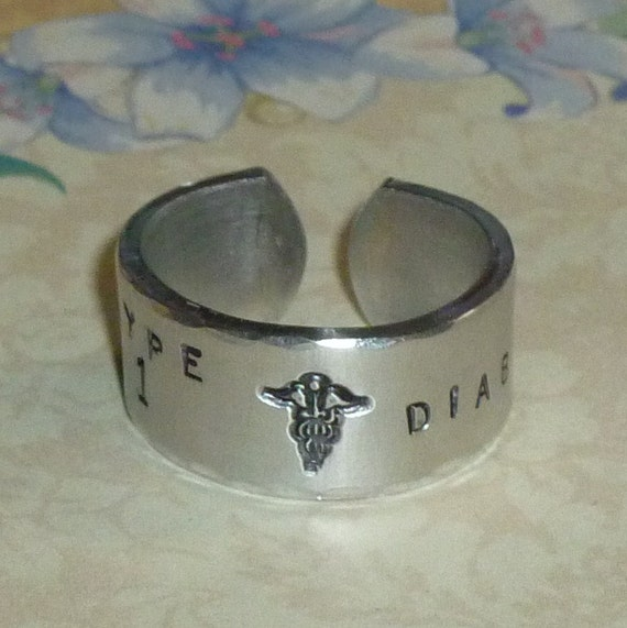 Custom Medical Alert Hand Stamped Wide Aluminum Band Ring