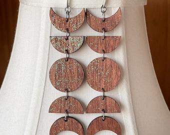 Long Wooden Moon Phase Earrings, Celestial Jewelry
