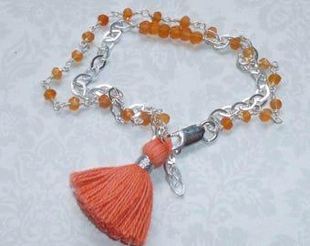 Carnelian Gemstone Sterling Silver Double Strand Orange Tassel Bracelet