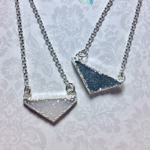 Druzy Crystal Quartz Triangle Necklace in Sterling Silver - Choose White or Black