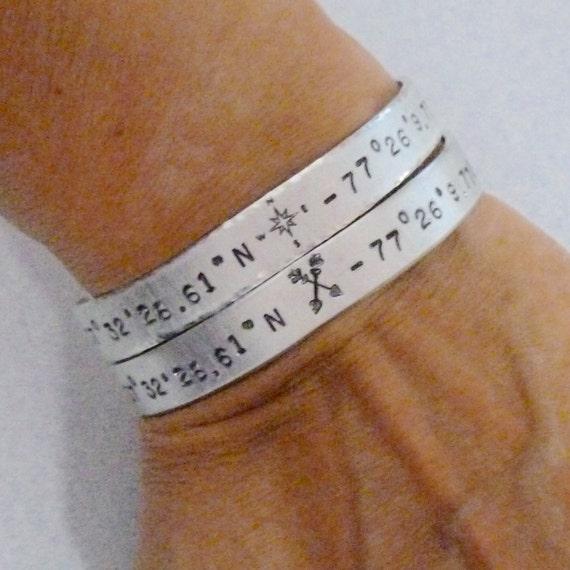 Wanderlust Coordinates Hand Stamped Aluminum Cuff Bracelet