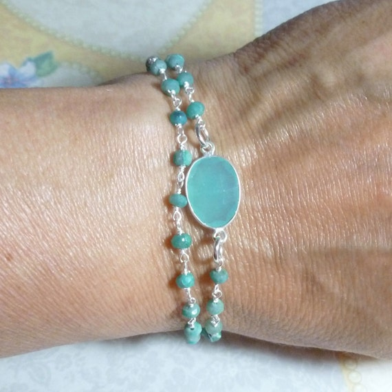 Double Wrap Aqua Chalcedony and Chrysocolla Gemstone Rosary Chain Tassel Bracelet