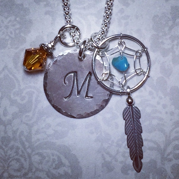 Personalized Dreamcatcher Feather Hand Stamped Sterling Silver Initial Charm Necklace