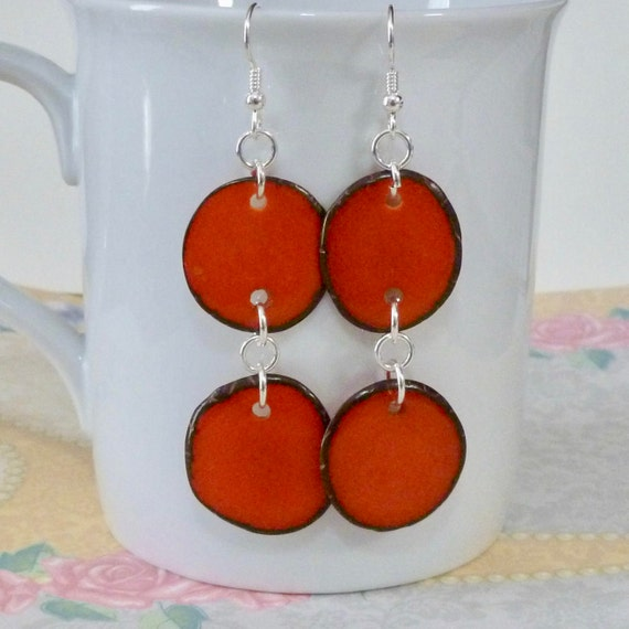 Orange Tagua Nut Slice Sterling Silver Earrings
