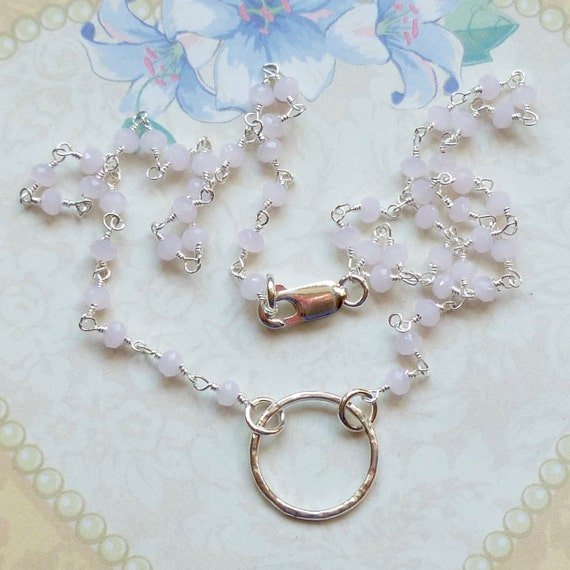 Sterling Silver Circle Hammered Ring Rose Quartz Gemstone Rosary Chain Necklace