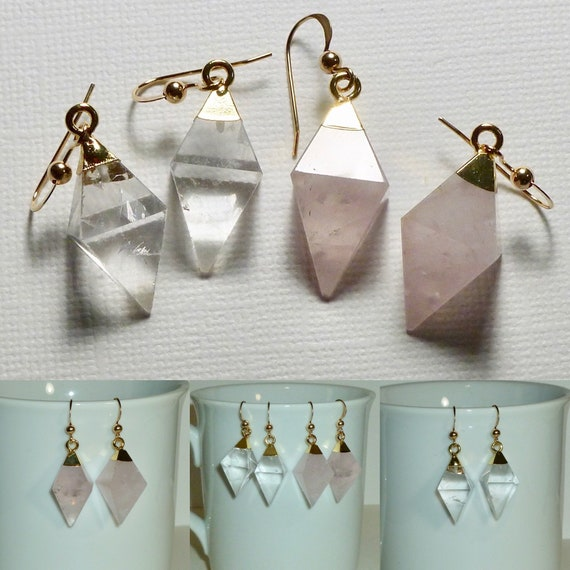 Crystal or Rose Quartz Gemstone Diamond Shaped Dangle Earrings - Choose One Pair