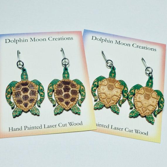 Hand Painted Laser Cut Wood Sea Turtle Earrings