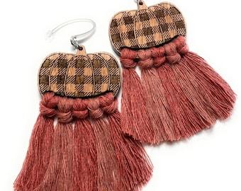 Pumpkin Buffalo Plaid Macrame Fringe Earrings