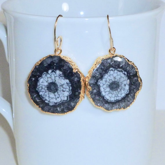 Black and White Solar Quartz Slice Earrings with Artisan Handcrafted Gold Fill Ear Wires