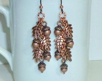 Cascading Copper Acorn and Oak Leaf Dangle Earrings - Autumn Jewelry