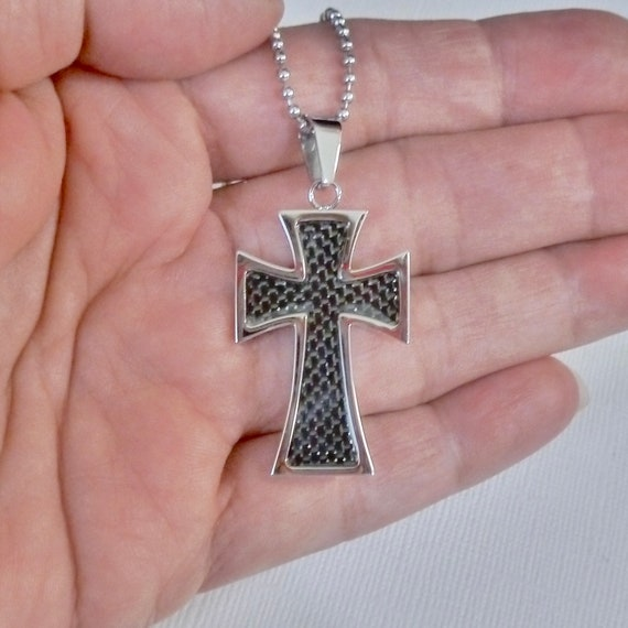 Mens Stainless Steel Maltese Cross with Carbon Fiber Inlay Pendant Necklace