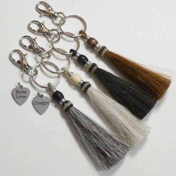 Equestrian Cowgirl Beaded Horse Hair Tassel Keychain