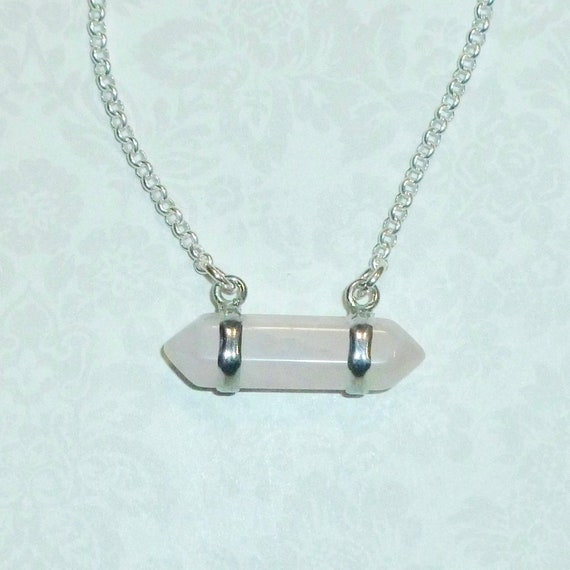 Horizontal Double Crystal Point Pendant Necklace - Choose Crystal or Rose Quartz