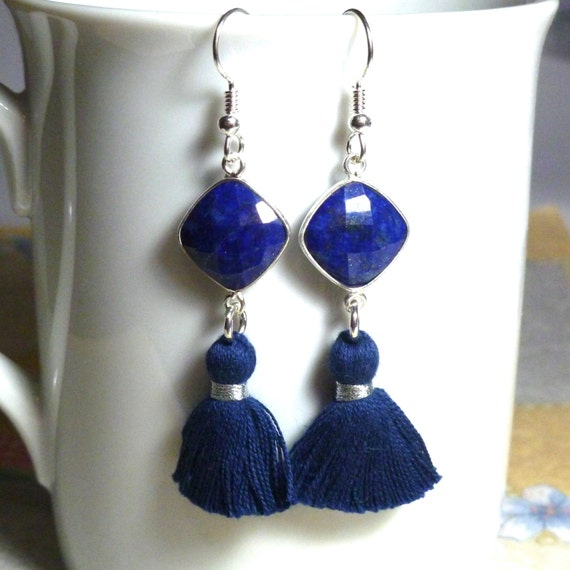 Lapis Lazuli Gemstone Tassel Earrings