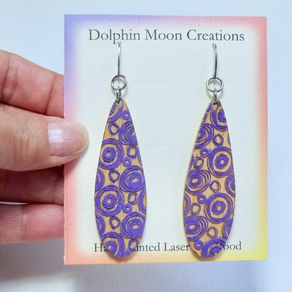 Hand Painted Laser Cut Wood Long Teardrop Purple Swirl Earrings