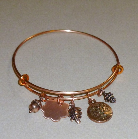 Personalized Adjustable Autumn Acorn Oak Leaf Pine Cone Tree of Life Bangle Charm Bangle Bracelet
