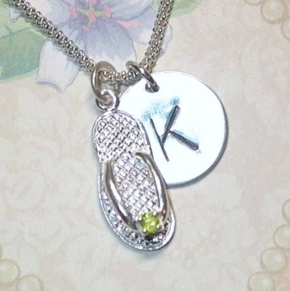 Personalized August Peridot Birthstone Flip Flop Hand Stamped Sterling Silver Initial Charm Necklace