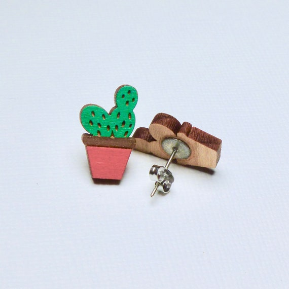 Hand Painted Laser Cut Wood Potted Cactus Stud Earrings