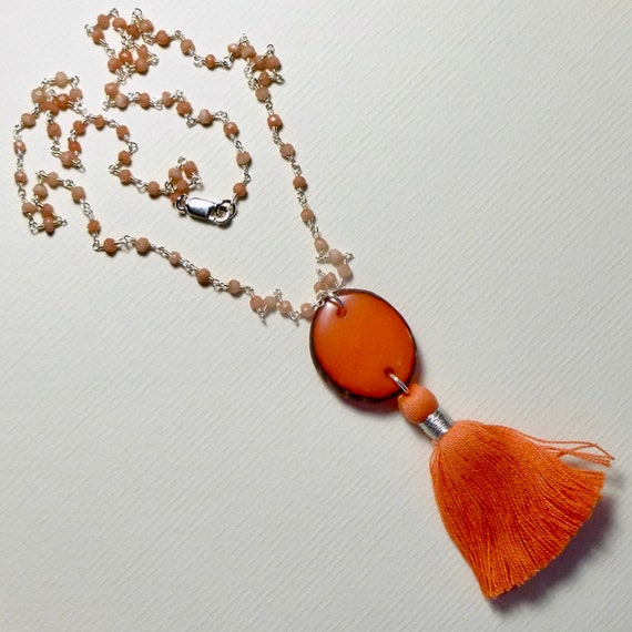 Orange Chalcedony Tagua Nut Slice Sterling Silver Rosary Chain Tassel Necklace