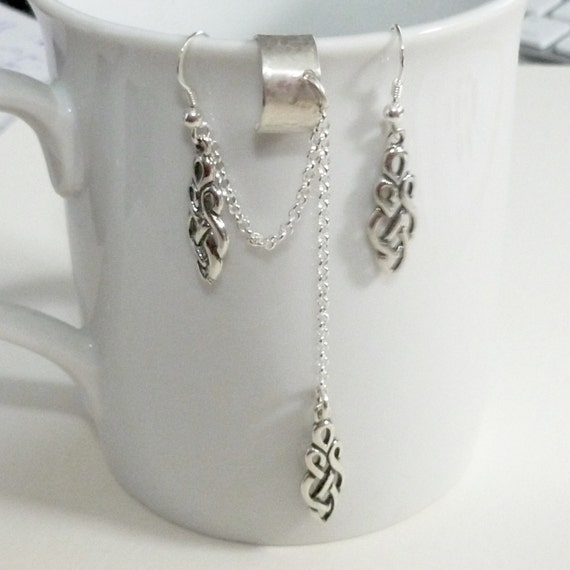 Hand Stamped Sterling Silver Celtic Ear Cuff Earring Set with Chain
