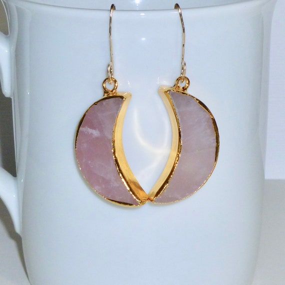 Rose Quartz Crescent Moon Earrings, Gold Plated Celestial Jewelry