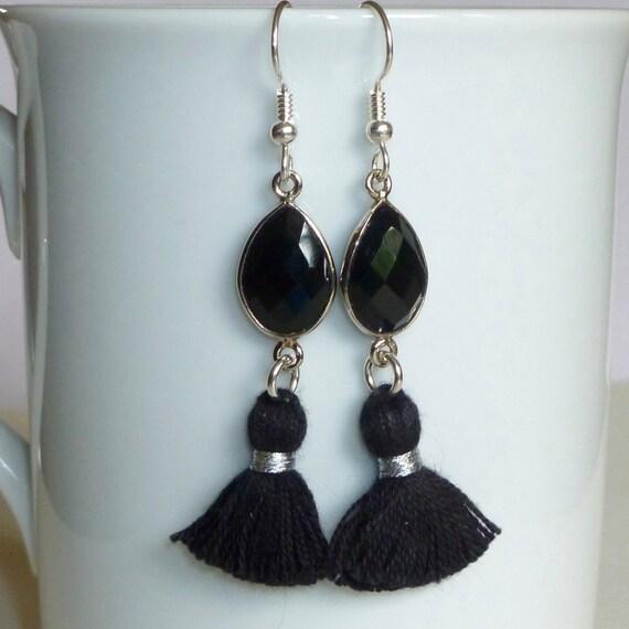 Black Onyx Gemstone Tassel Earrings