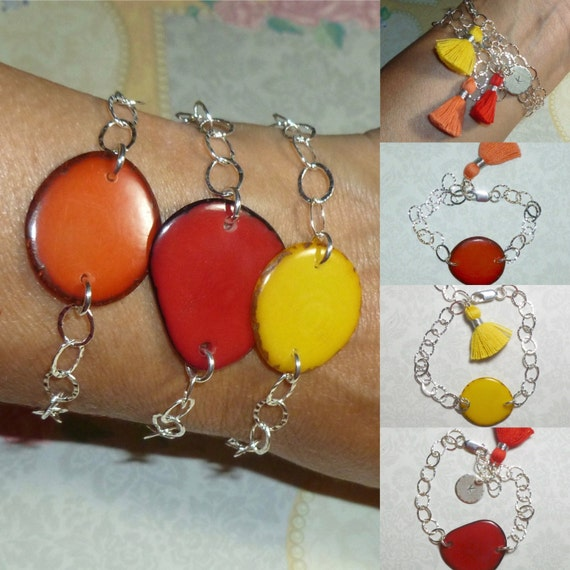 Orange Red or Yellow Colorful Tagua Nut Sterling Silver Hammered Cable Link Bracelet with Tassel