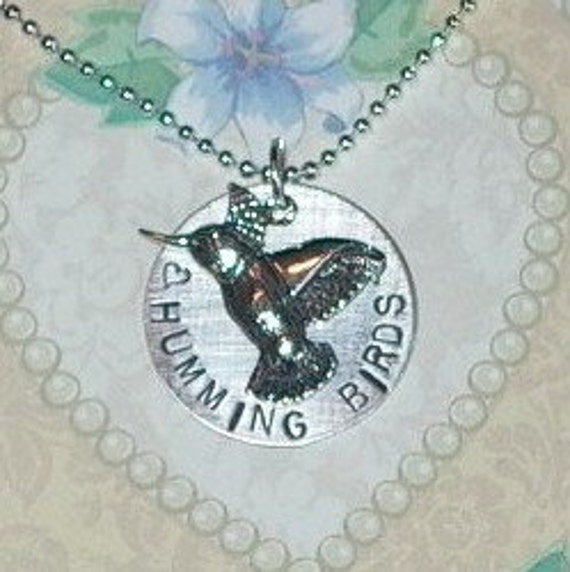 Love Hummingbirds Hand Stamped Sterling Silver Charm Necklace